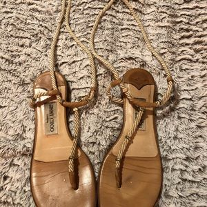 jimmy choo size 38.5 camel and gold wrap flats